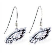 Mspiercing Sterling Silver Earrings With Official Licensed Pewter NFL Charm, Philadelphia Eagles
