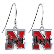 Mspiercing Sterling Silver Earrings With Official Licensed Pewter NCAA Charm, University Of Nebraska