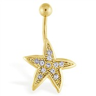 Gold Tone Starfish Navel Ring