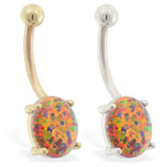 14K Gold belly ring with Mexican Opal Stone