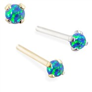 14K Gold Customizable Nose Stud with 2mm Round Blue Green Opal