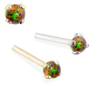 14K Gold Customizable Nose Stud with 2mm Round Rainbow Opal