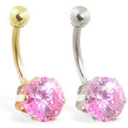 14K Gold belly ring with large 8mm Pink Tourmaline