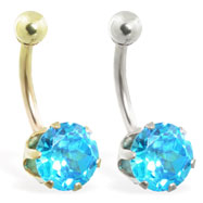 14K Gold belly ring with large 8mm Aquamarine