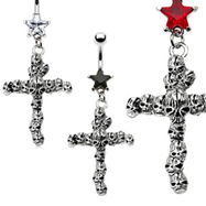 Jeweled Star Navel Ring with Dangling Skull Cross