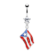 Belly Ring with Dangling Puerto Rican Flag