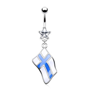 Belly ring with dangling Finland flag
