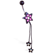 Black coated jeweled star navel ring with dangling stars on chains