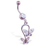 Belly ring with dangling butterfly loop