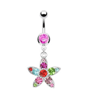Belly Ring With Dangling Multicolored Flower