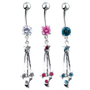 Navel ring with dangling chains stars and moons