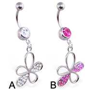 Belly ring with dangling gem paved flower