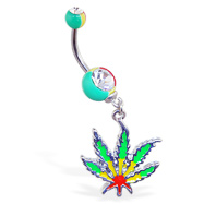 Rasta colored double jeweled belly ring with dangling pot leaf
