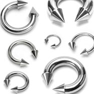 Stainless steel circular (horseshoe) barbell with cones, 6 ga