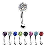 Curved barbell with crystal paved gem top, 16 ga