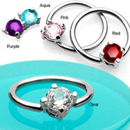 316L Surgical Steel Captive Bead Ring with Solitaire CZ Stone, 14 ga
