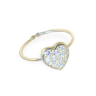 14K Gold Toe Ring With Jewel Paved Heart