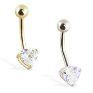 14K Gold jeweled heart belly ring with 3-prongs