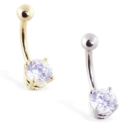 14K Gold Belly Ring With Brilliant Round 6Mm CZ