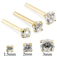 14K Gold Customizable Nose Stud with Round CZ