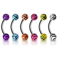 Curved barbell (eyebrow ring) with tiger print balls