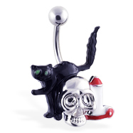 Halloween Belly Ring with Black Cat And Skull