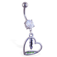 Belly ring with dangling jeweled green heart and feather