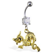 Belly ring with dangling gold colored dragon