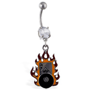 Navel Ring with Dangling Flaming Ace And 8-Ball