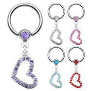 Captive Bead Ring With Dangling Jeweled Heart, 14 Ga