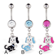 Belly ring with dangling puppy dog