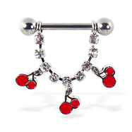 Nipple ring the dangling jeweled chain and cherries, 12 ga or 14 ga