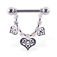 Nipple ring with dangling jeweled chain and fancy hearts, 12 ga or 14 ga