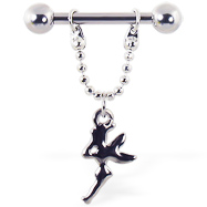 Nipple ring with dangling fairy, 12 ga or 14 ga