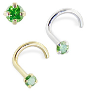 14K Gold Nose Screw with Green Diamond, 20 Ga