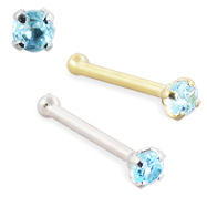 14K Gold Nose Bone with Blue Topaz, 22 Ga