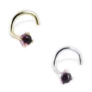 14K Gold Nose Screw with 2mm Round Cabochon Rhodolite