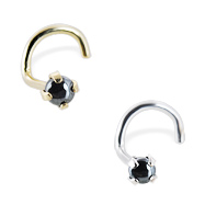 14K Gold Nose Screw with 2mm Round Cabochon Hematite, 20ga