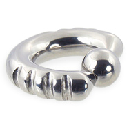 Fancy 4 notch captive bead ring, 2 ga
