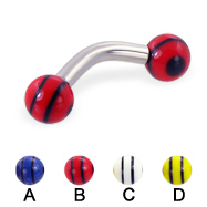 Curved barbell with double striped balls, 10 ga