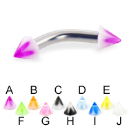 Acrylic flower cone curved barbell, 10 ga