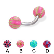 Curved barbell with acrylic checkered balls, 14 ga