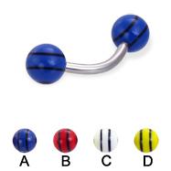 Curved barbell with double striped balls, 14 ga