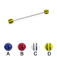 Long barbell (industrial barbell) with double striped balls, 16 ga