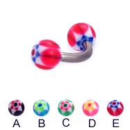 Titanium curved barbell with acrylic star balls, 12 ga