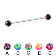 Long barbell (industrial barbell) with acrylic star balls, 14 ga