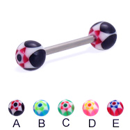 Straight barbell with acrylic star balls, 14 ga