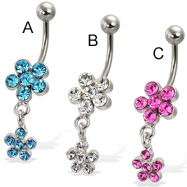 Belly button ring with two jeweled flowers