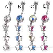 Belly button ring with dangling jeweled butterfly, star, and flower