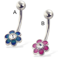 Colored flower belly button ring with five round petals and gem